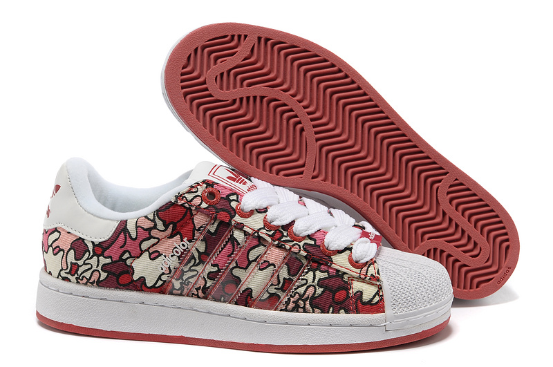 Women's Adidas Originals Adicolor Superstar 2K IS Print Shoes Red Camo/White 561973