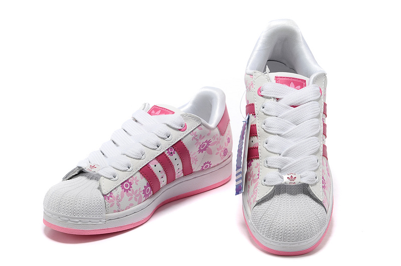 Women\'s Adidas Originals Superstar 2 Print Casual Shoes White/Pink 019784