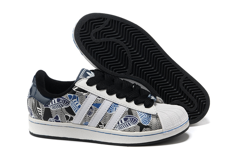 Men's/Women's Adidas Originals Superstar 2 Print Casual Shoes White Gray Black 031391
