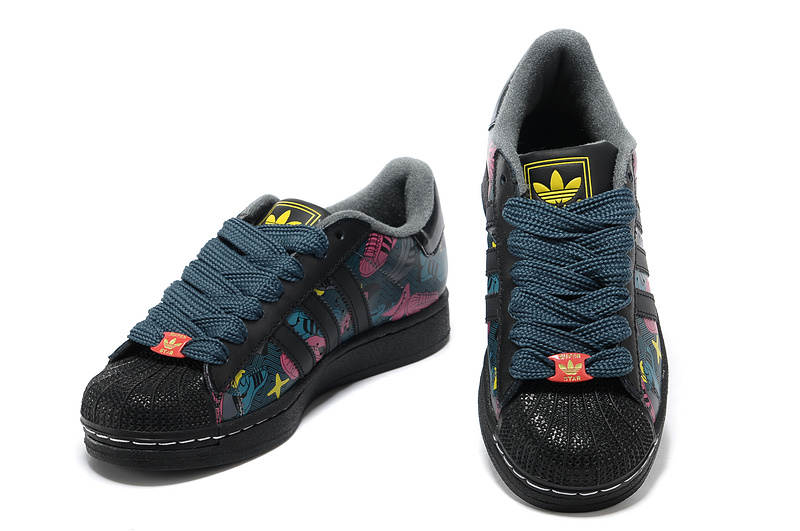 Men\'s/Women\'s Adidas Originals Superstar 2 Print Casual Shoes Black/Red 031409