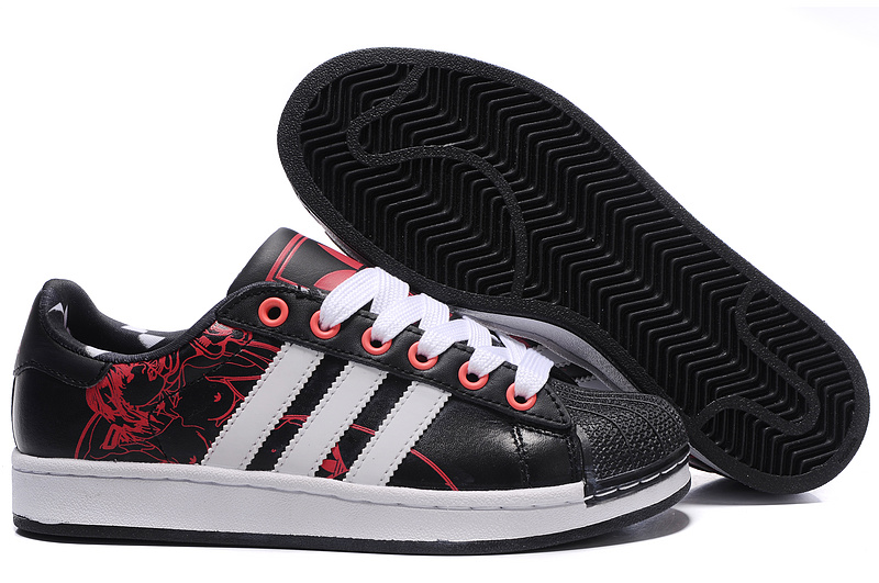 Men's/Women's Adidas Originals Superstar 2 Print Casual Shoes Black/Red G43777