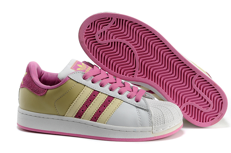 Women's Adidas Originals Superstar 2 Casual Shoes White/Pink/Yellow 677294