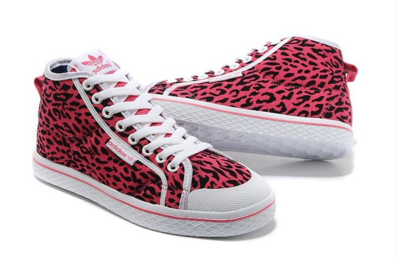 Women\'s Adidas Originals Honey Mid W Casual Shoes Pink Black Leopard G95730