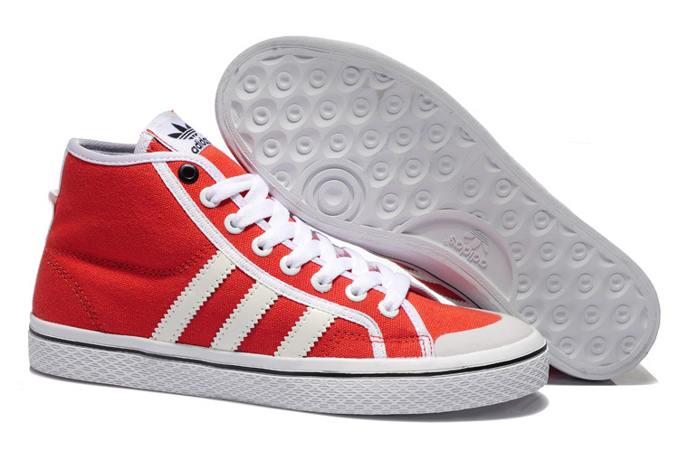 Women's Adidas Originals Honey Stripes Mid W Casual Shoes Red/White Q23318