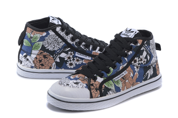Women\'s Adidas Originals Honey Mid W Print Casual Shoes White/Blue/Black Q23388
