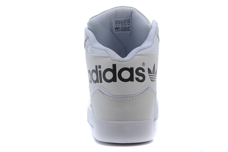 Men\'s/Women\'s Adidas Originals Extaball High Top Leather Basketball Shoes White/Black M20864