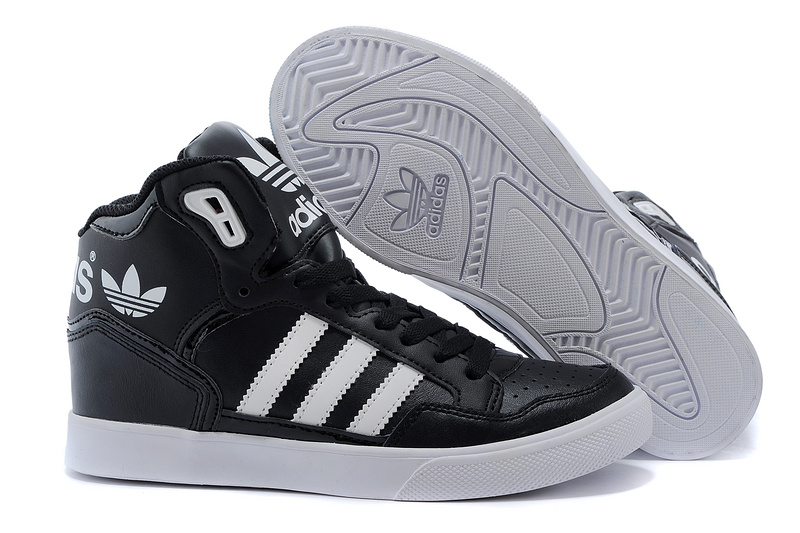 Men's/Women's Adidas Originals Extaball High Top Leather Basketball Shoes Black/White M20863