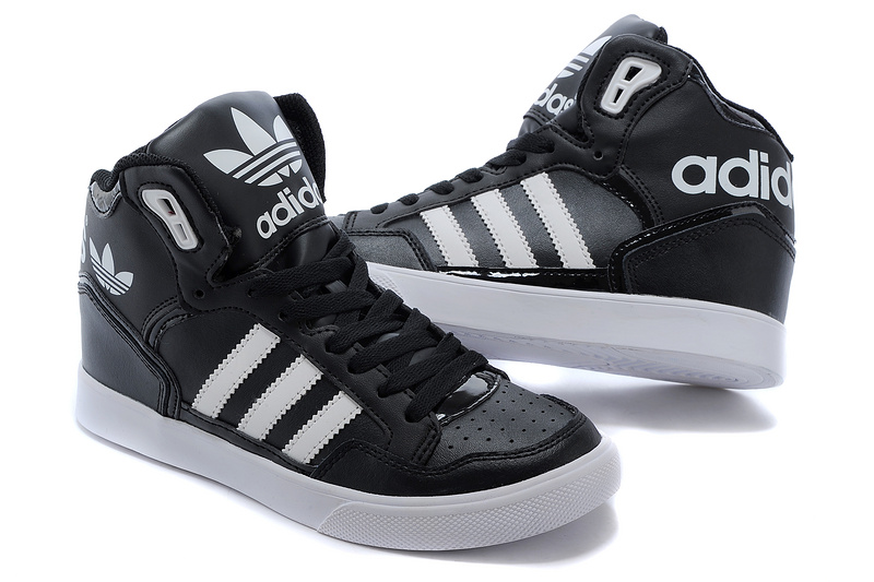 Men\'s/Women\'s Adidas Originals Extaball High Top Leather Basketball Shoes Black/White M20863
