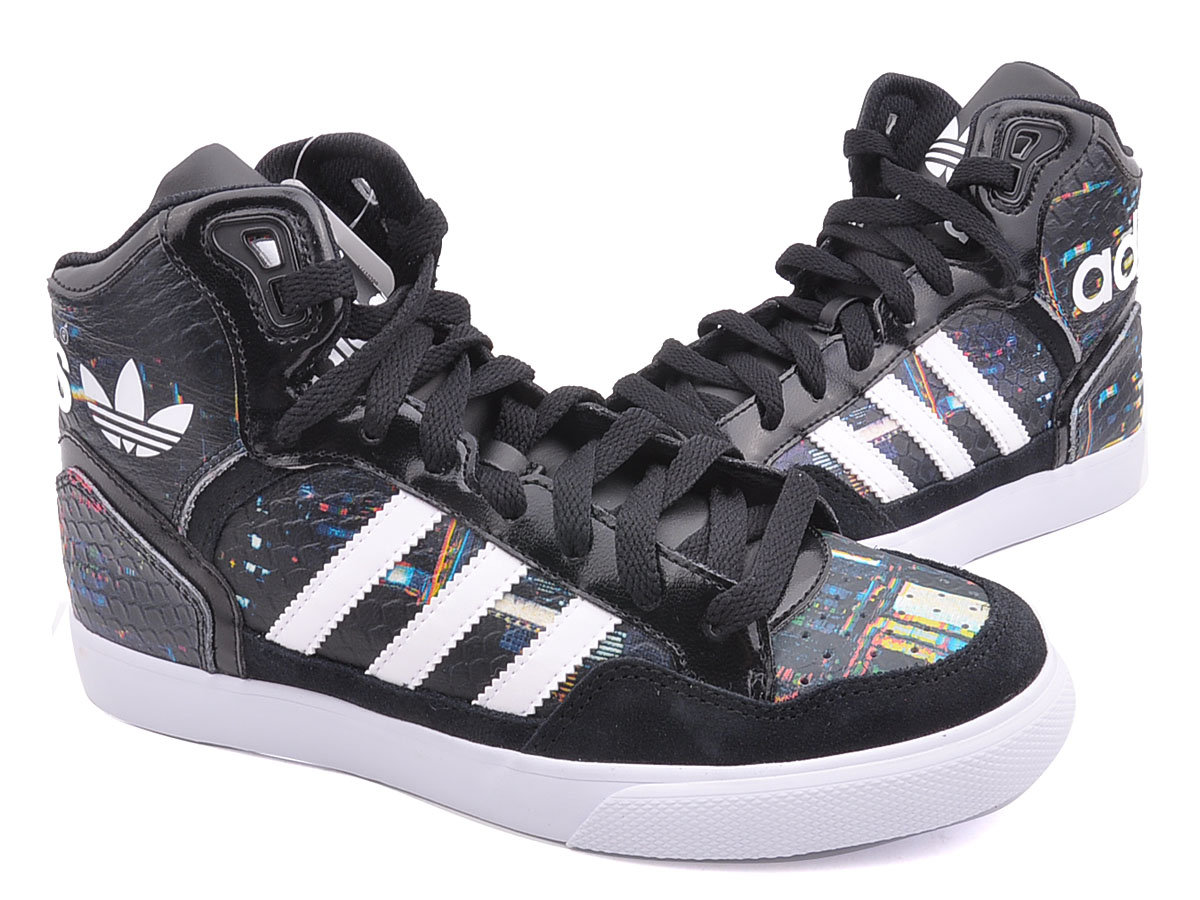 Men\'s/Women\'s Adidas Originals Extaball High Top Leather Basketball Shoes Core Black B35643
