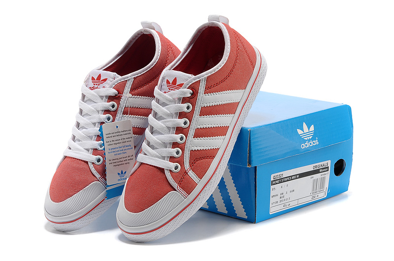 Women\'s Adidas Originals Honey Stripes Low Casual Shoes Red/White Q23321