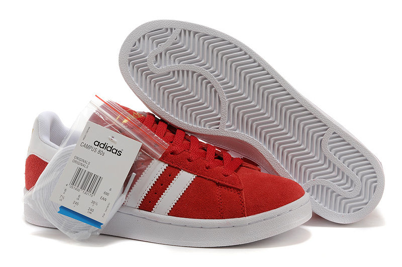 Men's/Women's Adidas Originals Campus 80s Casual Shoes Red/White