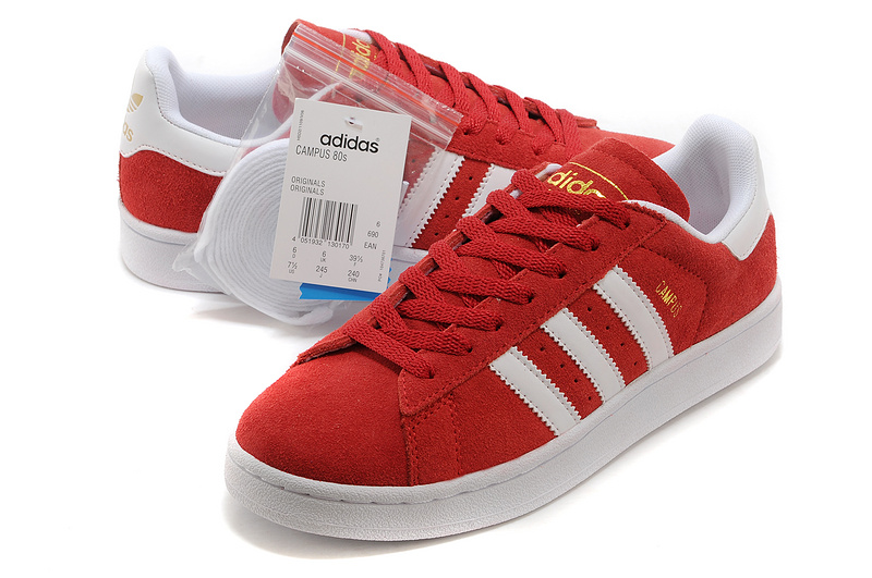 Men\'s/Women\'s Adidas Originals Campus 80s Casual Shoes Red/White