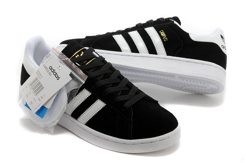 Men\'s/Women\'s Adidas Originals Campus 80s Casual Shoes Black/White/Gold
