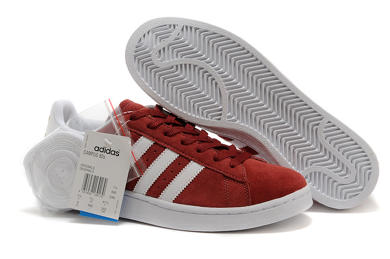 Men's/Women's Adidas Originals Campus 80s Casual Shoes Wine/White