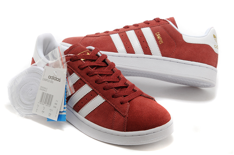 Men\'s/Women\'s Adidas Originals Campus 80s Casual Shoes Wine/White