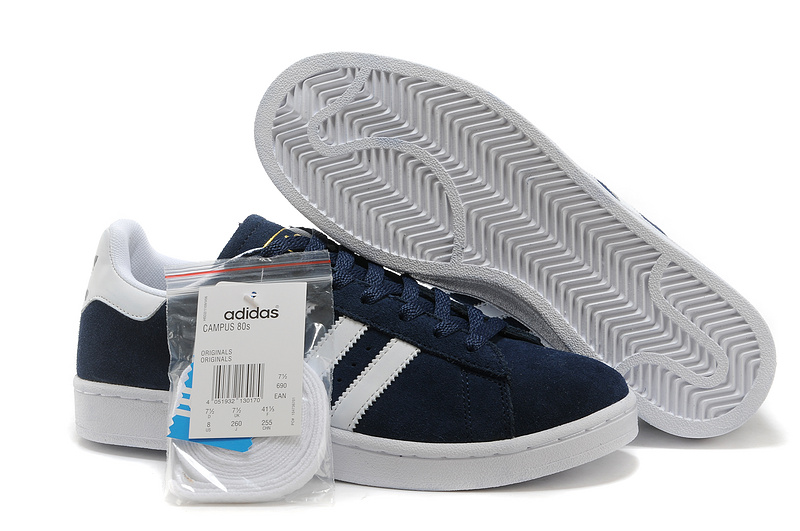 Men's/Women's Adidas Originals Campus 80s Casual Shoes Navy/White
