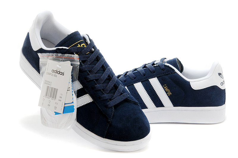 Men\'s/Women\'s Adidas Originals Campus 80s Casual Shoes Navy/White