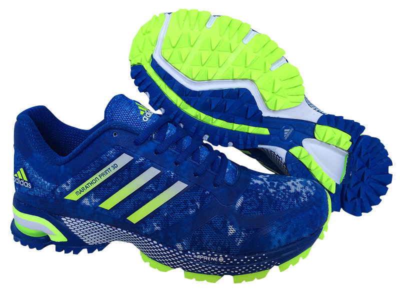 Men's Adidas Marathon Print 3D Running Shoes Bold Blue/Fluorescent Green