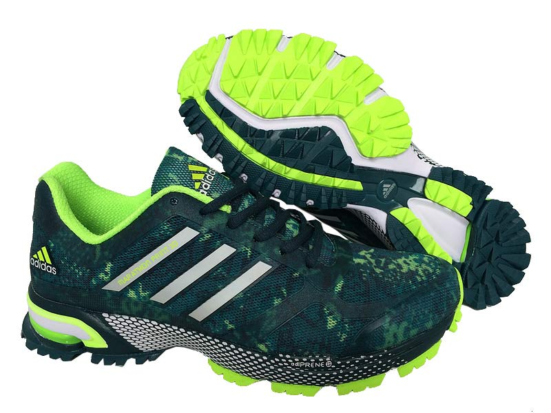 Men's Adidas Marathon Print 3D Running Shoes Ink Green/Fluorescent Green