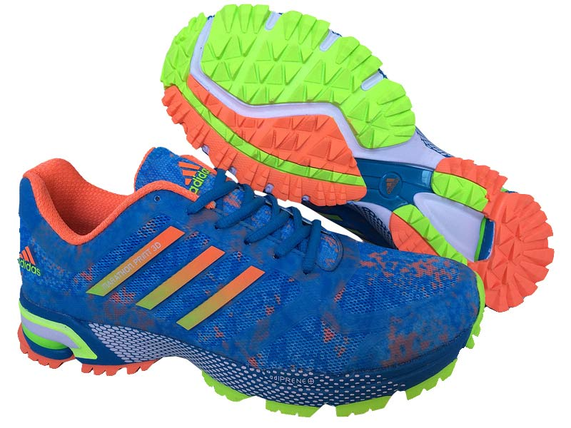Men's Adidas Marathon Print 3D Running Shoes Ultramarine/Orange/Fluorescent Green