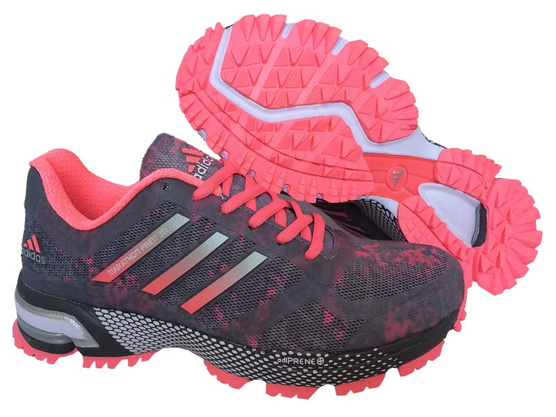 Women's Adidas Marathon Print 3D Running Shoes Grey/Light Carmine
