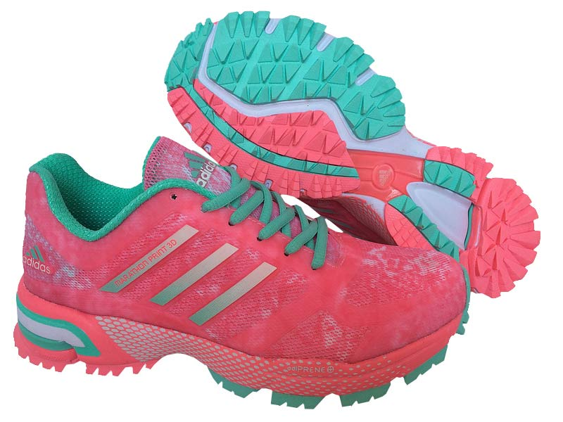 Women's Adidas Marathon Print 3D Running Shoes Light Carmine/New Jade