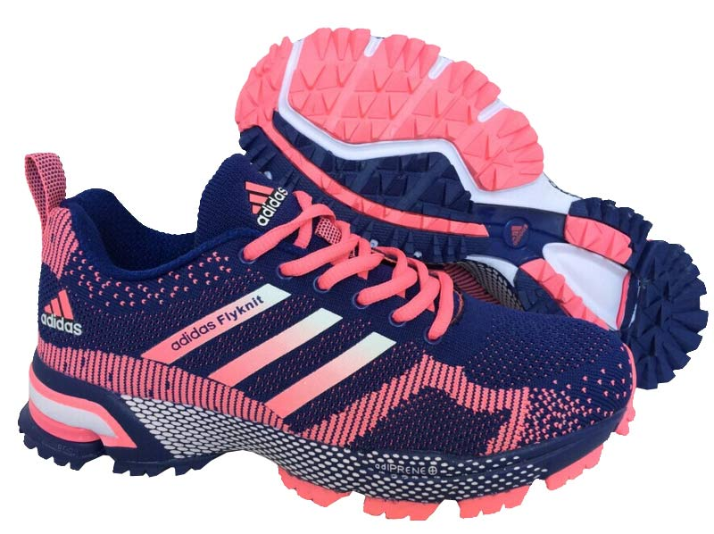 2015 Men's-Women's Adidas Marathon Flyknit Running Shoes Light Purplish Blue/Light Carmine
