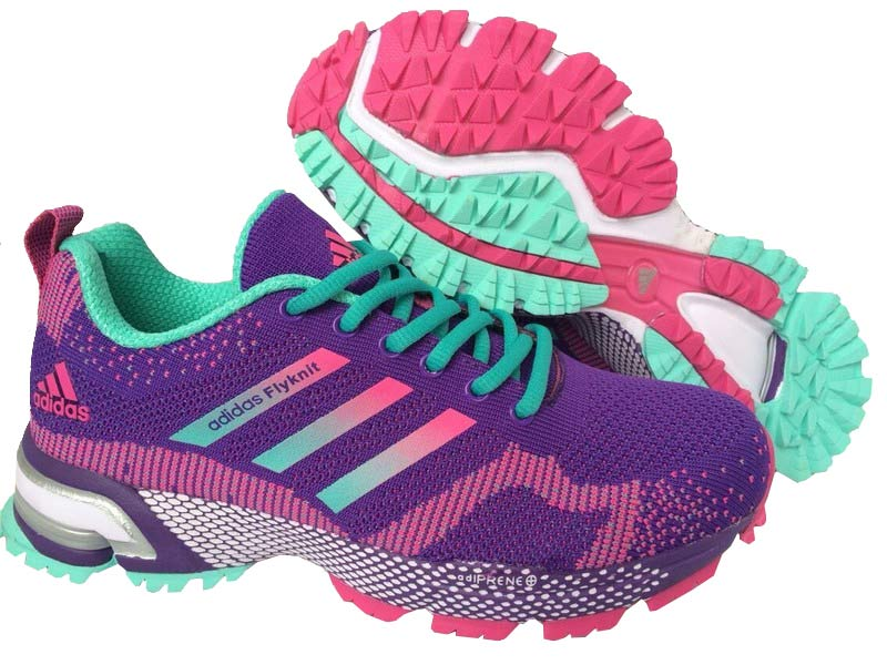 2015 Men's-Women's Adidas Marathon Flyknit Running Shoes Violet/New Jade/Fuchsia