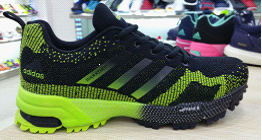 2015 Men's Adidas Marathon Flyknit Running Shoes Black/Fluorescent Green