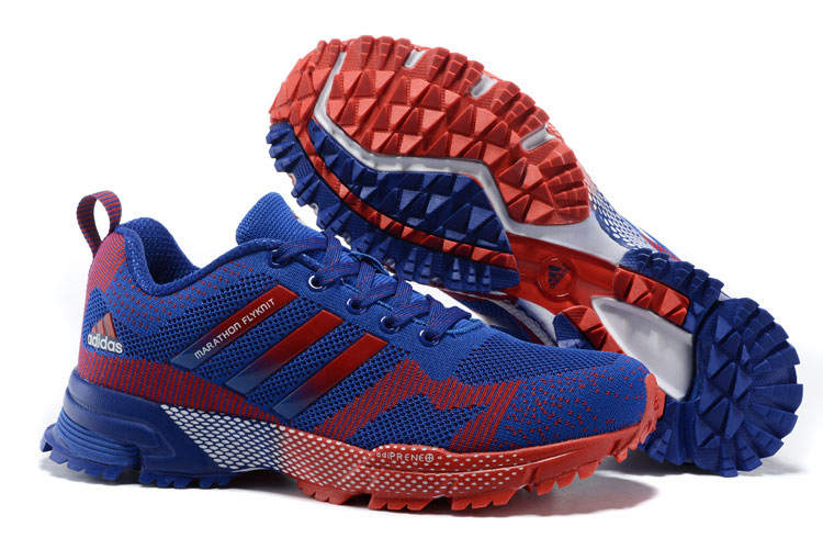 2015 Men's Adidas Marathon Flyknit Running Shoes Bold Blue/Crimson