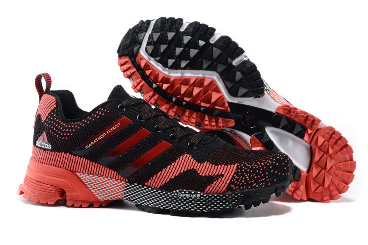 2015 Men's Adidas Marathon Flyknit Running Shoes Core Black/Crimson