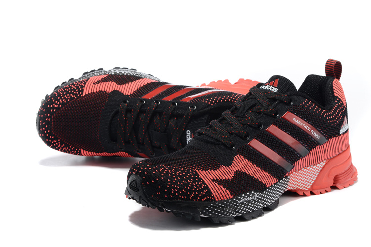 2015 Men\'s Adidas Marathon Flyknit Running Shoes Core Black/Crimson