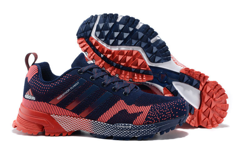 2015 Men's Adidas Marathon Flyknit Running Shoes Navy/Bright Red
