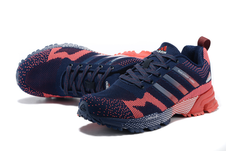 2015 Men\'s Adidas Marathon Flyknit Running Shoes Navy/Bright Red