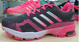 2015 Men's-Women's Adidas Marathon Flyknit Running Shoes Deep Grey/Pink