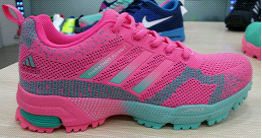 2015 Men's-Women's Adidas Marathon Flyknit Running Shoes Pink/Light Blue