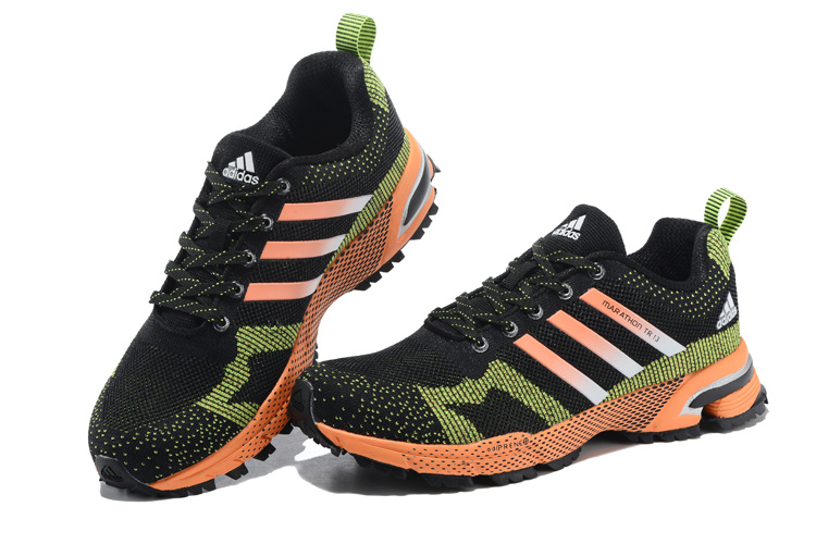 Men\'s Adidas Marathon TR 13 Running Shoes Core Black/Green/Orange V21837