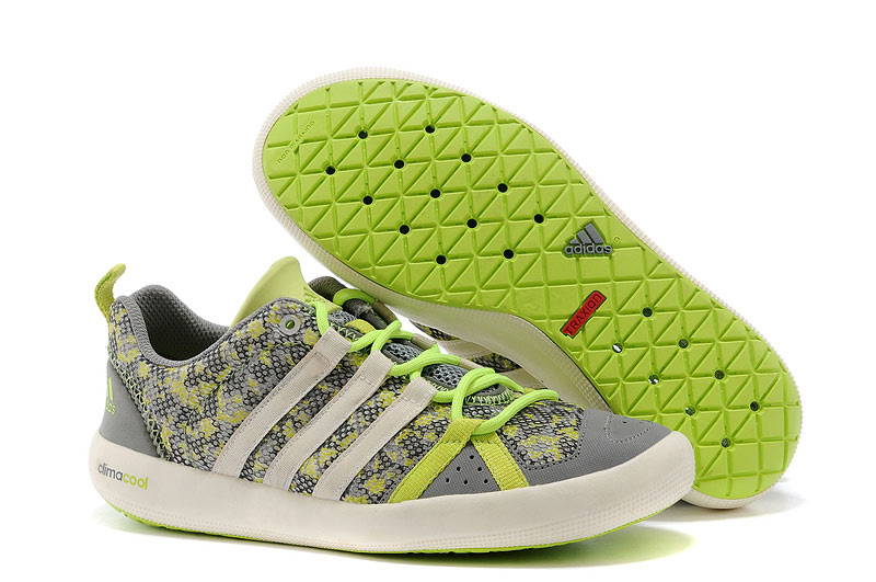 Men\'s Adidas Outdoor Climacool Boat Lace Shoes Grey/Fluorescent Green M21849