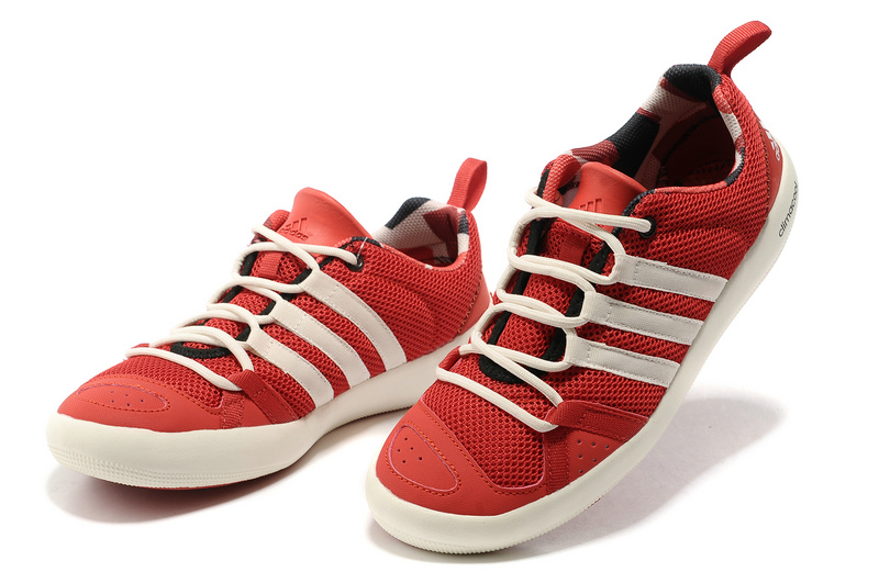 Men\'s/Women\'s Outdoor Climacool Boat Lace Shoes Scarlet/White G60607