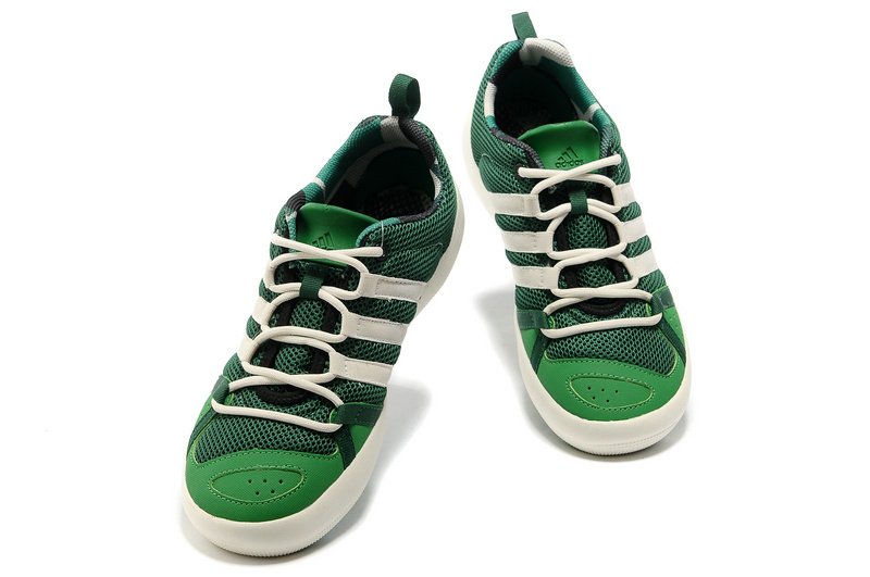 Men\'s/Women\'s Outdoor Climacool Boat Lace Shoes Oil Green/White G60606