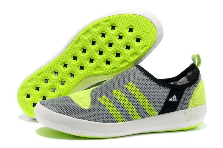Men's/Women's Adidas Outdoor Climacool Boat SL Unisex Shoes Metallic Grey/Fluorescent Green