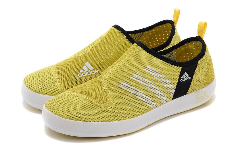 Men\'s/Women\'s Adidas Outdoor Climacool Boat SL Unisex Shoes Lemon Yellow/White
