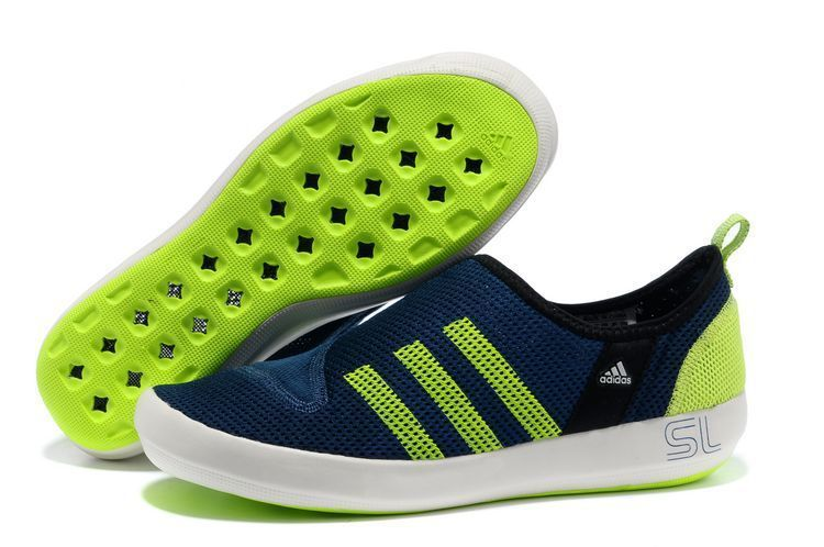 Men\'s/Women\'s Adidas Outdoor Climacool Boat SL Unisex Shoes Navy/Fluorescent Green