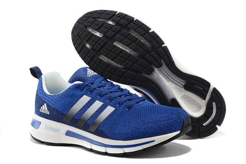 Men's Adidas Questar Flyknit Boost Running Shoes Bold Blue/Black