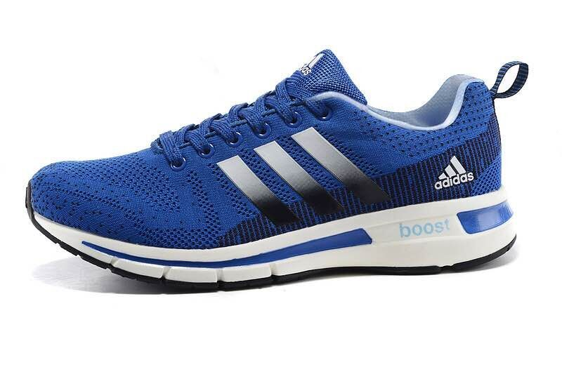 Men\'s Adidas Questar Flyknit Boost Running Shoes Bold Blue/Black