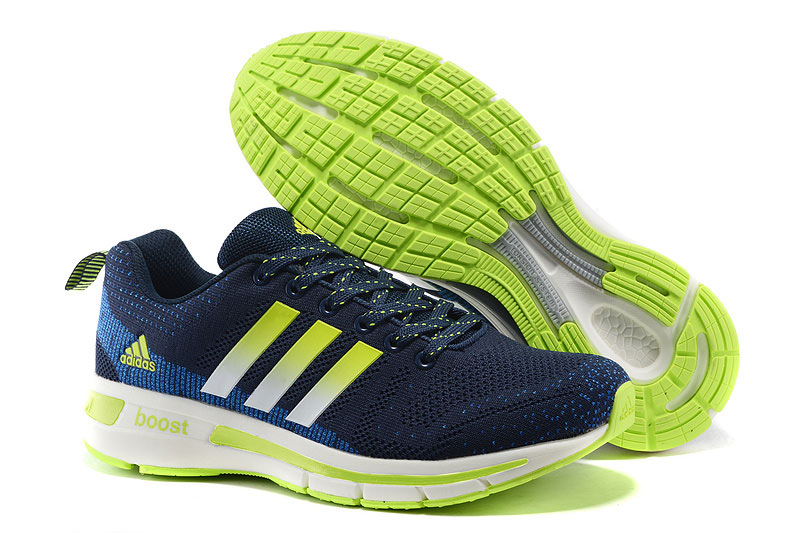 Men's Adidas Questar Flyknit Boost Running Shoes Navy/Blue/Fluorescent Green