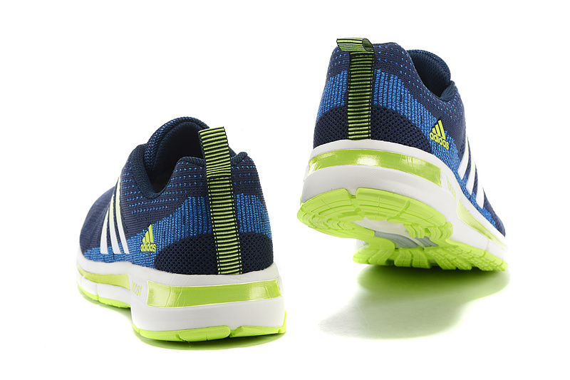 Men\'s Adidas Questar Flyknit Boost Running Shoes Navy/Blue/Fluorescent Green