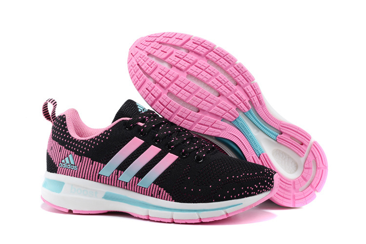 Women's Adidas Questar Flyknit Boost Running Shoes Pink/Core Black/Mint