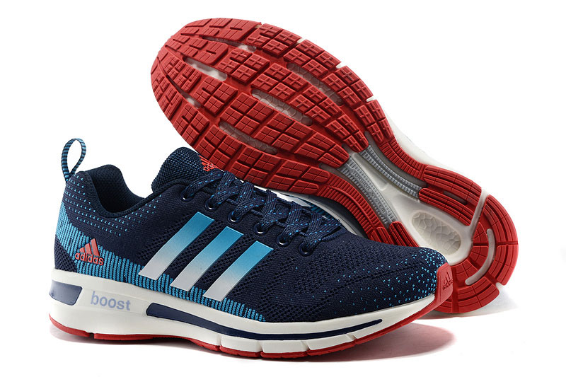 Men's/Women's Adidas Questar Flyknit Boost Running Shoes Navy/Lake Blue/White