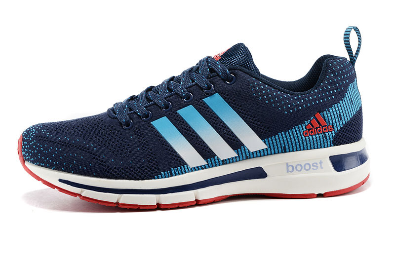 Men\'s/Women\'s Adidas Questar Flyknit Boost Running Shoes Navy/Lake Blue/White